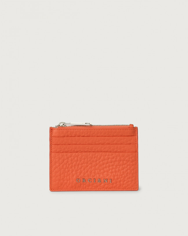 Orciani Soft leather card holder Leather Coral