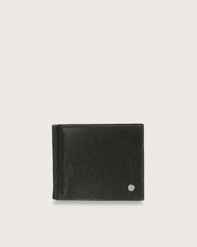 Orciani Frog leather wallet with money clip Chocolate