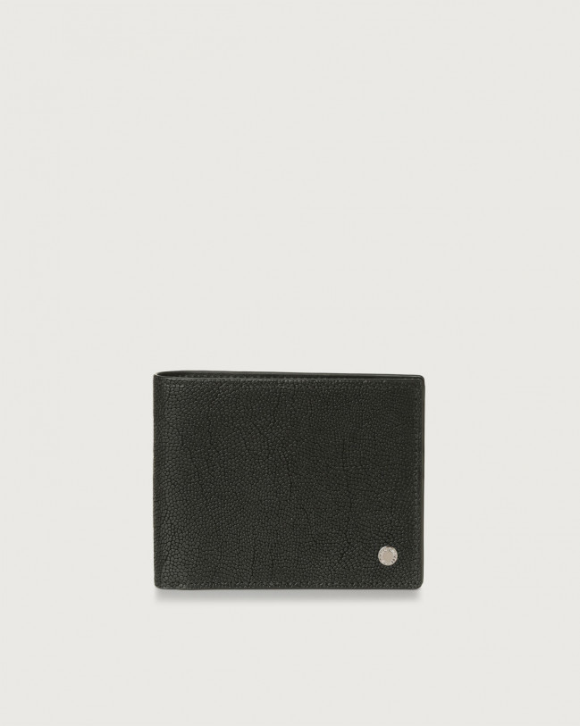 Orciani Frog leather wallet with RFID Embossed leather Black