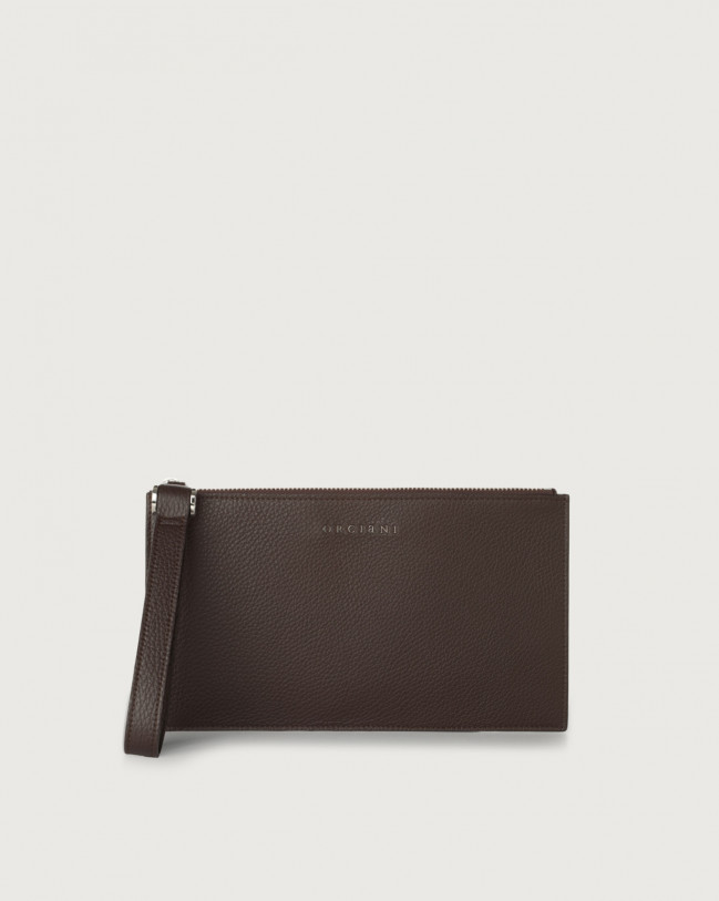 Orciani Micron leather pouch with wristband Chocolate