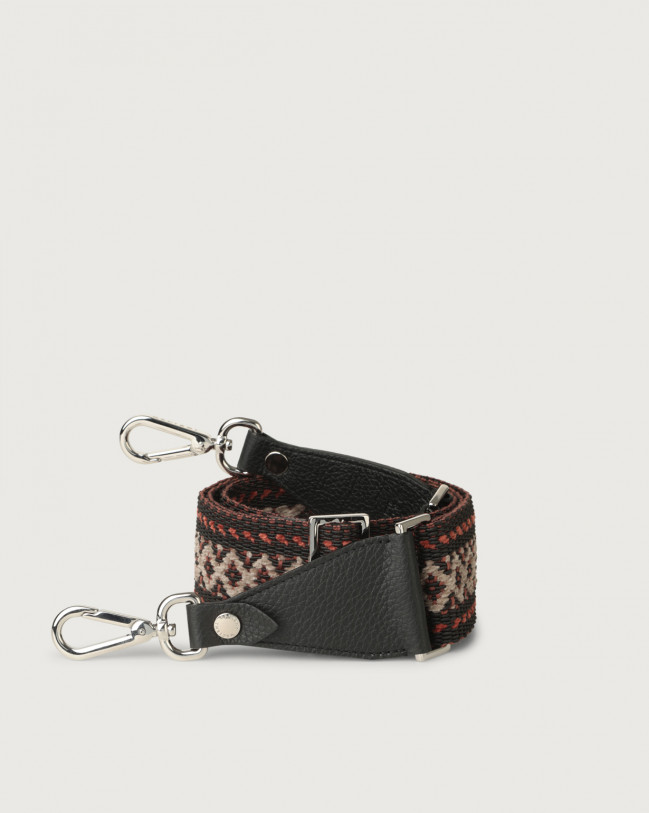 Orciani Warm fabric and leather strap Leather & fabric Black+orange
