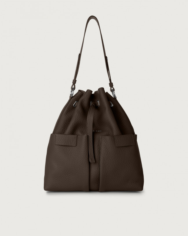 Orciani Tessa Soft large leather bucket bag Leather Chocolate