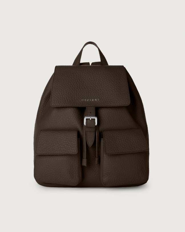 Orciani Charlotte Soft leather backpack Leather Chocolate