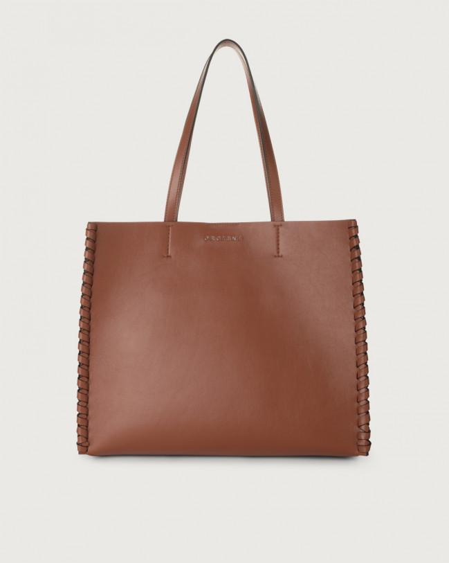 Orciani Le Sac Liberty Mesh medium leather tote bag Leather Cognac