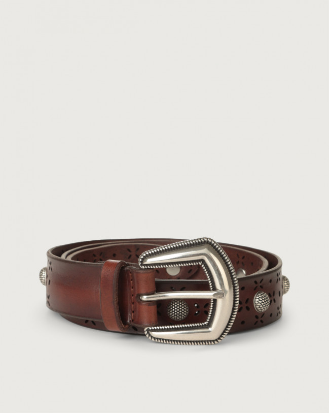 Orciani Bull Soft laser-cut leather belt Leather Brown