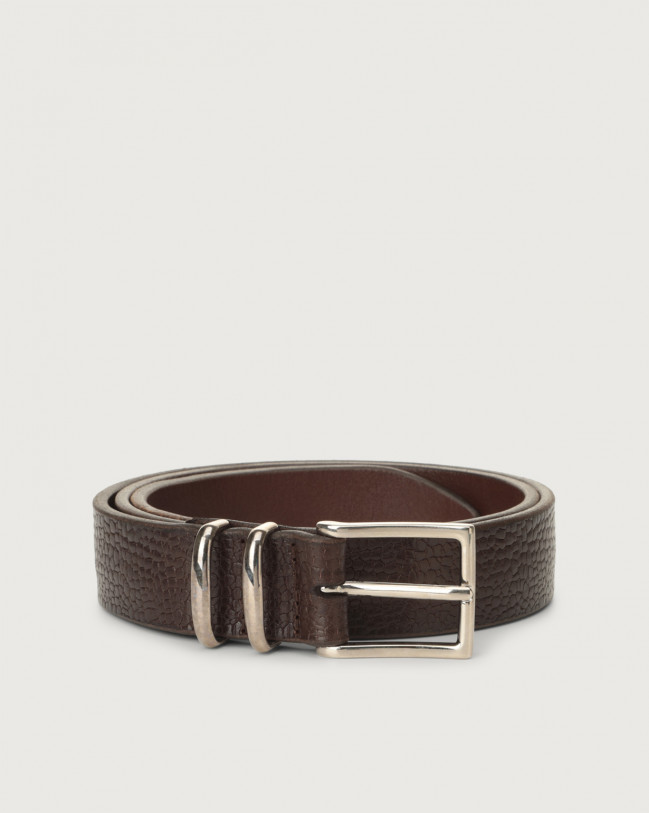 Orciani Grit leather belt with double metal loop Embossed leather Brown