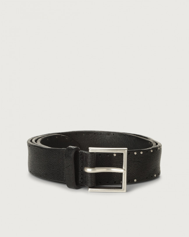 Orciani Frog leather belt with micro-studs Embossed leather Black