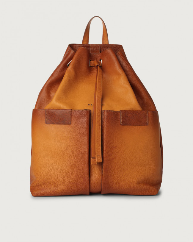 Orciani Micron Deep leather drawstring backpack Leather Ocher