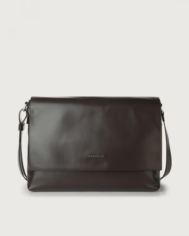 Orciani Liberty leather messenger bag Chocolate