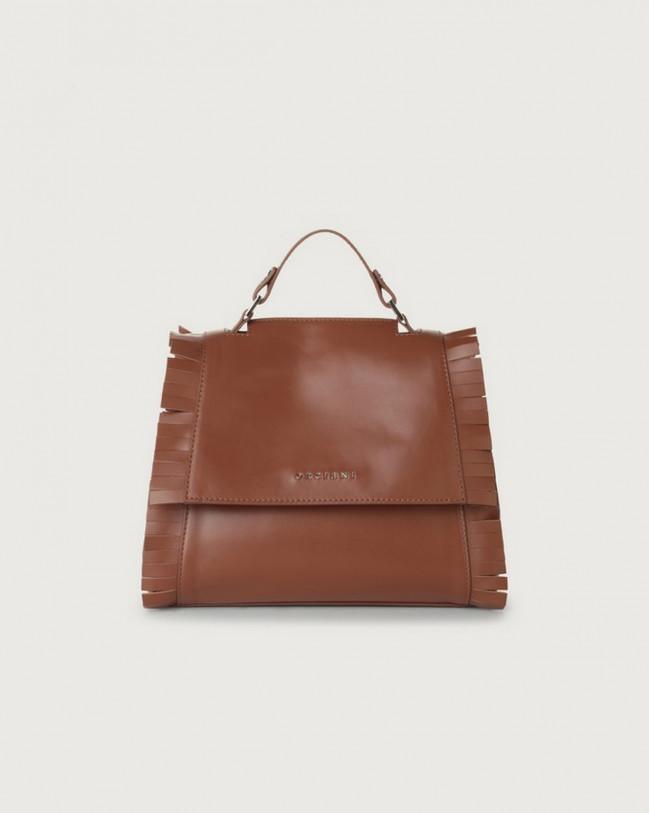 Orciani Sveva Liberty Fringe small leather handbag with strap Leather Cognac
