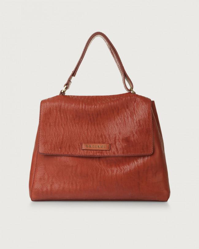 Orciani Sveva Cutting medium leather shoulder bag with strap Leather Pink