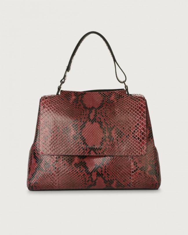Orciani Sveva Diamond medium python leather shoulder bag with strap Python Leather Pink