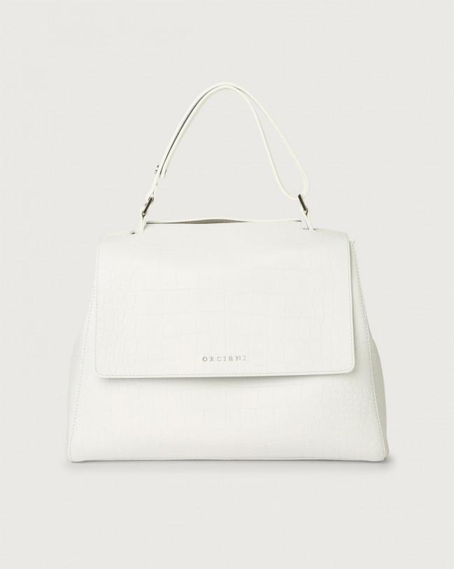 Orciani Sveva Kindu medium croc-effect leather shoulder bag with strap Embossed leather White