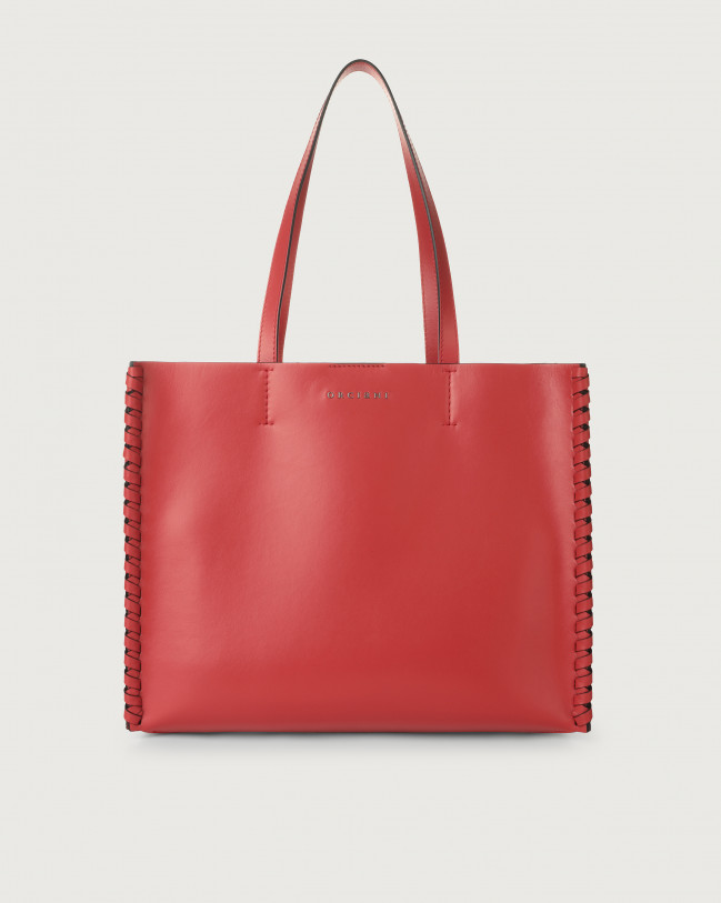 Orciani Le Sac Liberty Mesh medium leather tote bag Leather Red