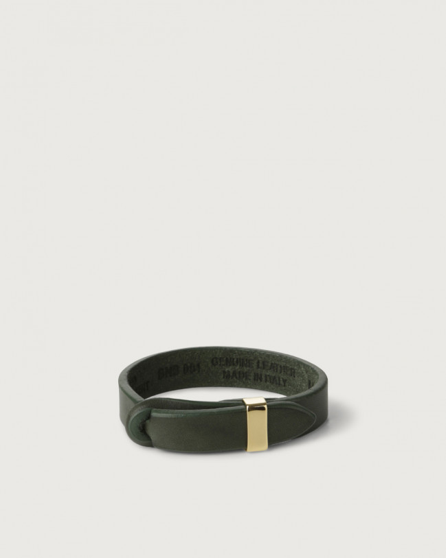 Orciani Bull leather Nobuckle bracelet with gold detail Leather Green