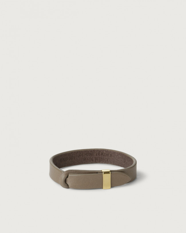 Orciani Bull leather Nobuckle bracelet with gold detail Leather Taupe