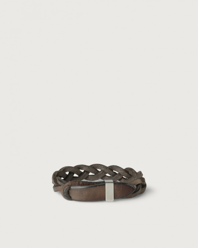 Orciani Walk leather Nobuckle bracelet with silver detail Leather Chocolate