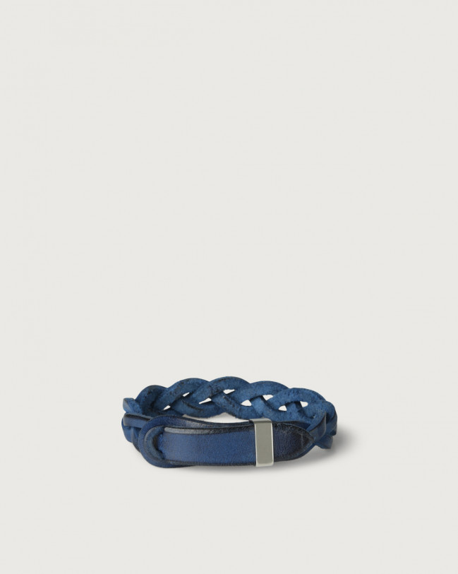 Orciani Walk leather Nobuckle bracelet with silver detail Leather Blue