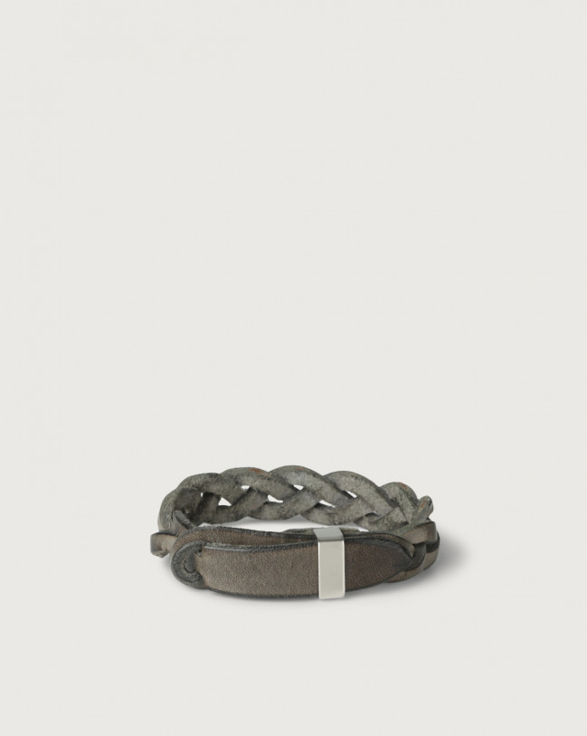 Orciani Walk leather Nobuckle bracelet with silver detail Leather Mud