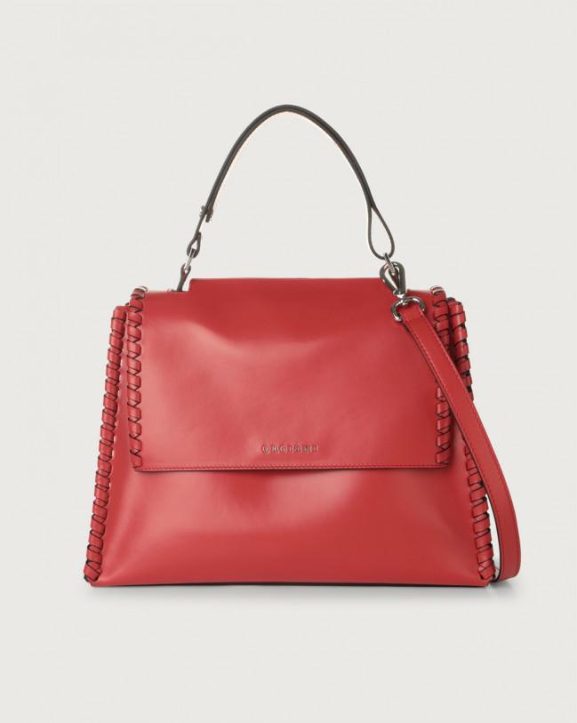 Orciani Sveva Liberty Mesh medium leather shoulder bag with strap Red