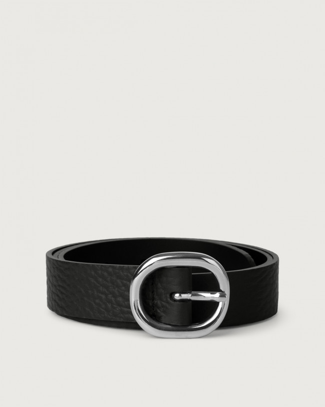 Orciani Soft leather belt 3 cm Leather Black