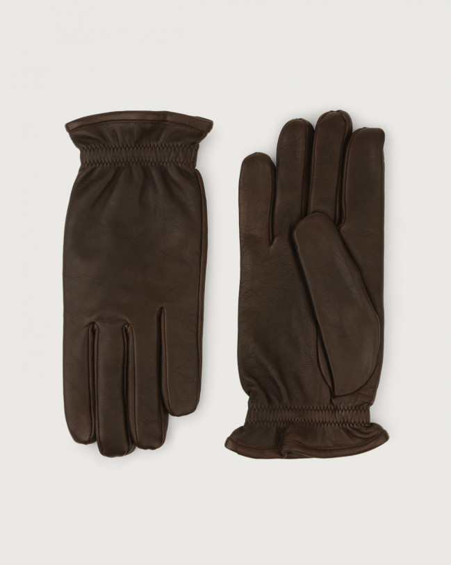 Orciani Nappa Washed leather gloves Cashmere, Wool Chocolate