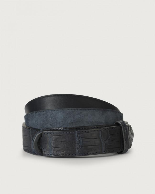 Orciani Camoscio cocco crocodile leather and suede Nobuckle belt Crocodile Leather, Suede Blue