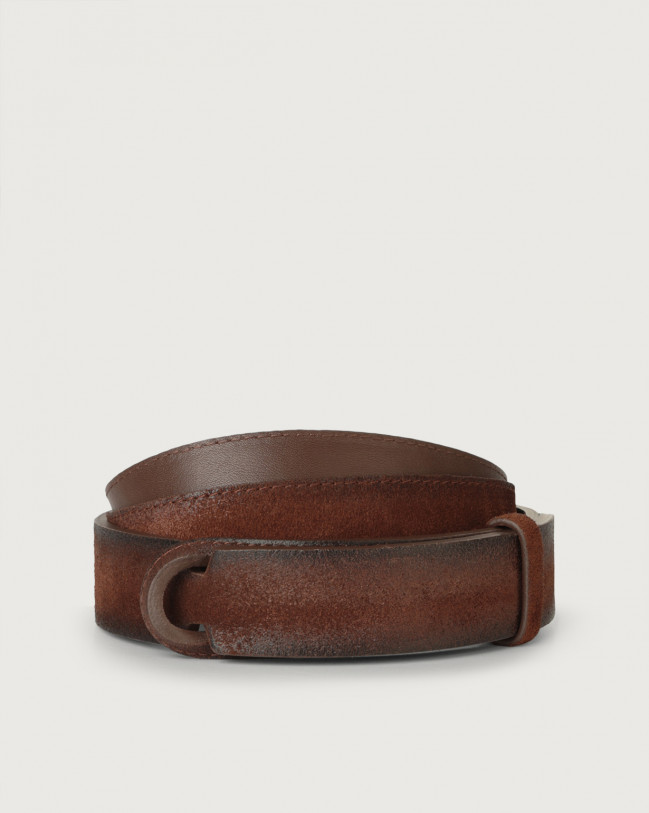 Orciani Cloudy suede Nobuckle belt Leather, Suede Brown