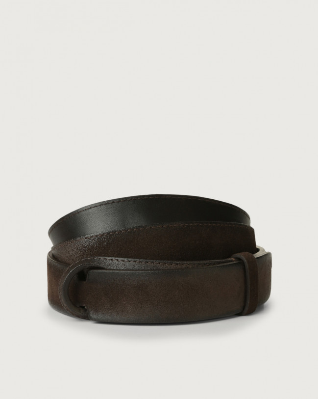 Orciani Cloudy suede Nobuckle belt Leather, Suede Chocolate