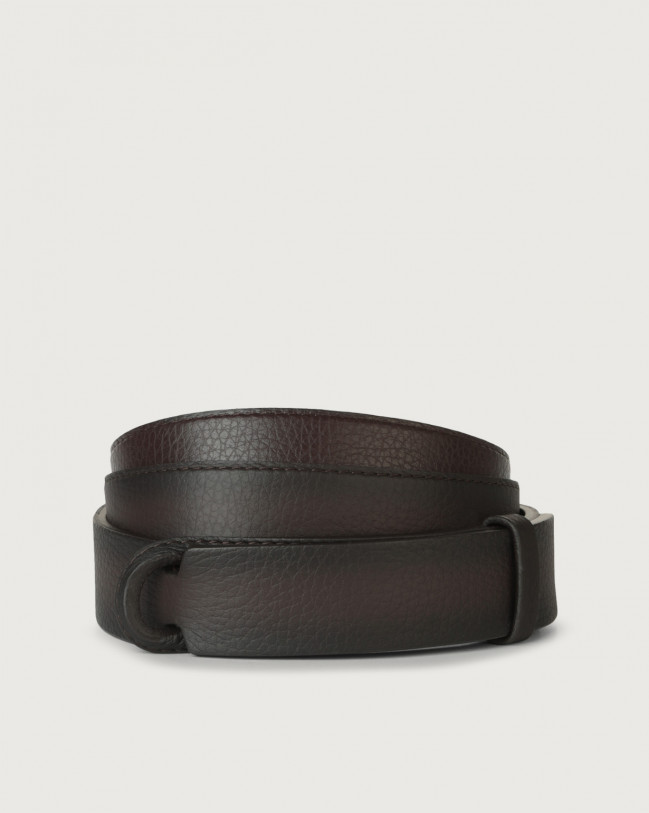 Orciani Micron Deep leather Nobuckle belt Leather Chocolate