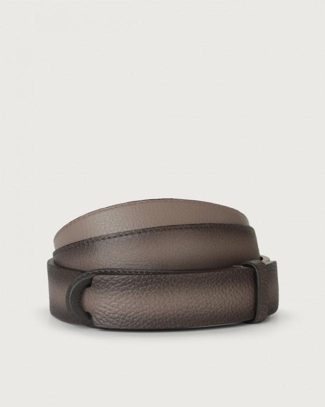 Orciani Micron Deep leather Nobuckle belt Mud