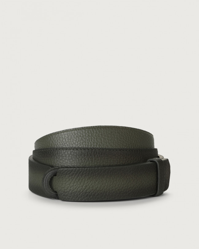 Orciani Micron Deep leather Nobuckle belt Leather Olive Green