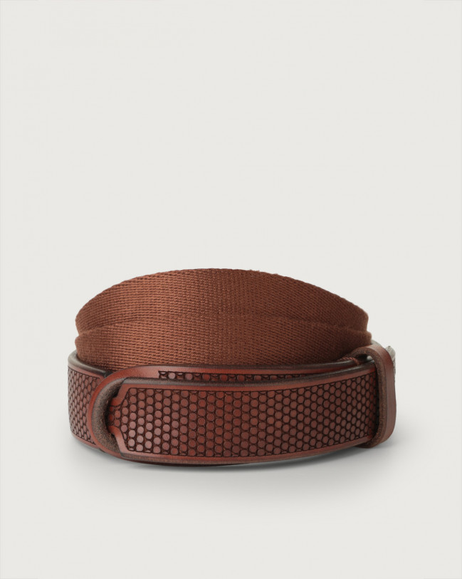 Orciani Bull Soft leather and fabric Nobuckle belt Burnt