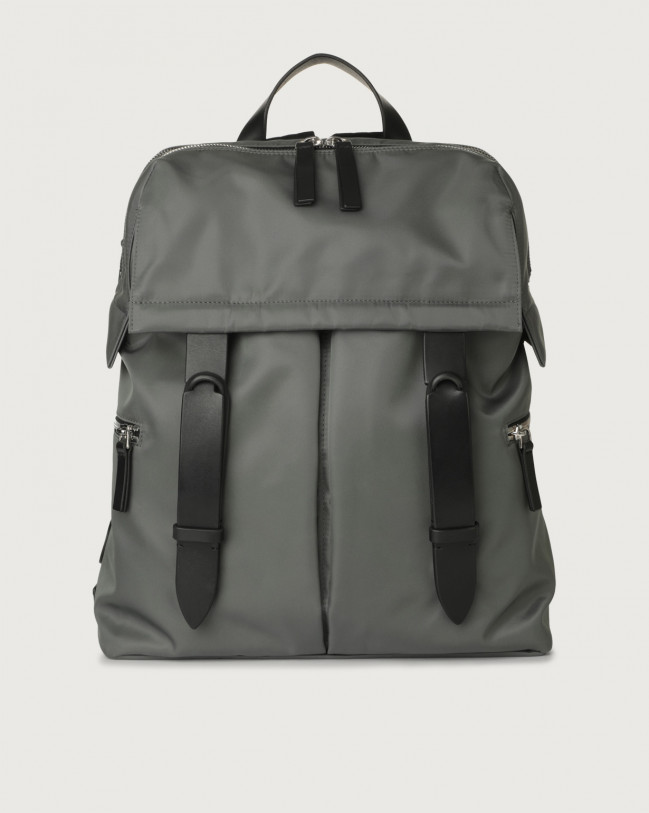 Orciani Nobuckle Eco-logic Planet backpack Canvas, Leather Grey