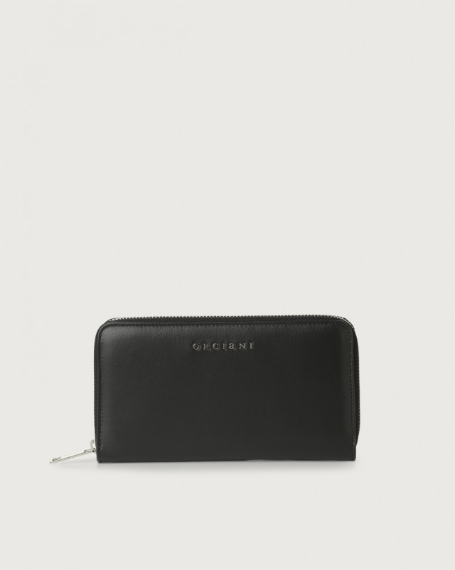 Orciani Liberty large leather wallet with zip Leather Black