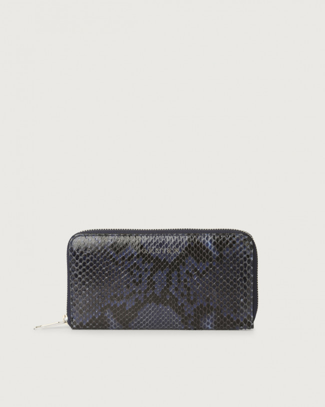 Orciani Diamond large python leather wallet with zip Python Leather Deep Blue
