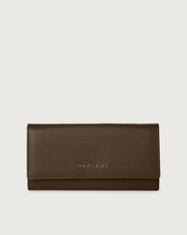 Orciani Micron leather envelope wallet with RFID Leather Brown