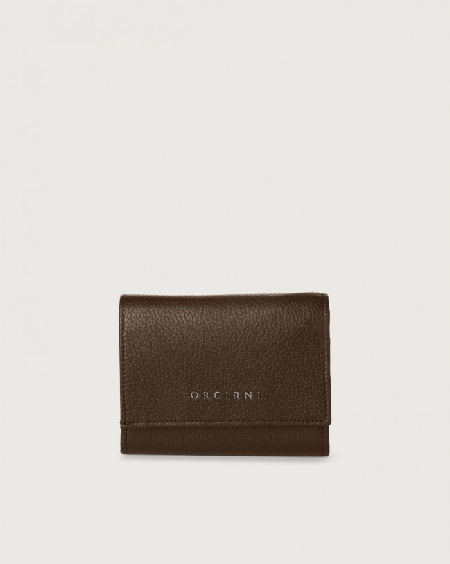 Orciani Micron small leather envelope wallet with RFID Leather Brown