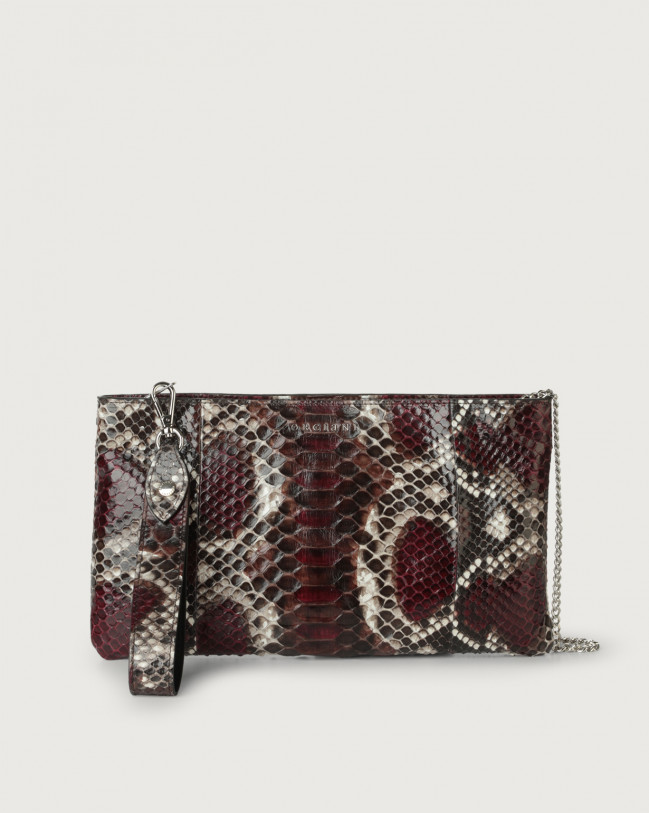 Orciani Naponos python leather pouch with wristband Python Leather Bordeaux