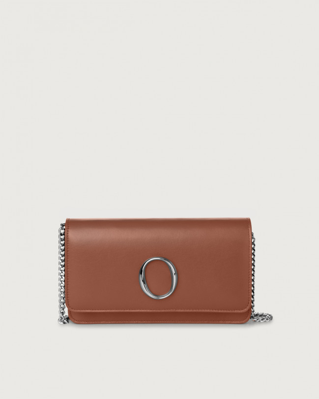 Orciani Liberty leather pochette with RFID Leather Cognac