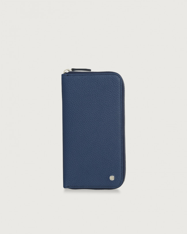 Orciani Micron vetrical leather wallet with zip Leather Blue