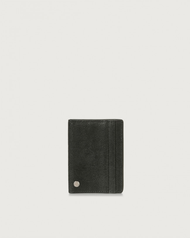 Orciani Frog hinge opening leather card holder with RFID Embossed leather Chocolate