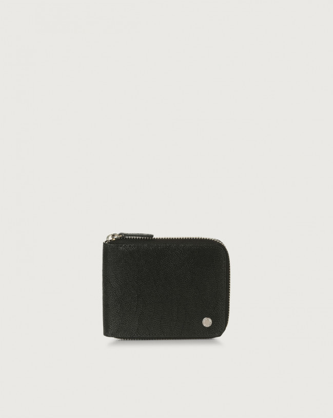 Orciani Frog leather wallet with coin pocket and RFID Embossed leather Black