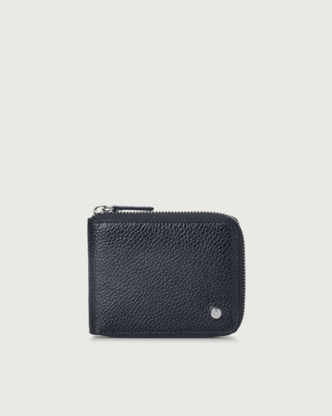 Orciani Micron Deep leather wallet with coin pocket Navy