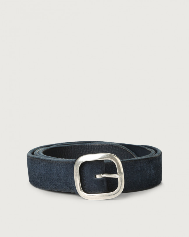 Orciani Hunting Double suede belt Leather, Suede Blue