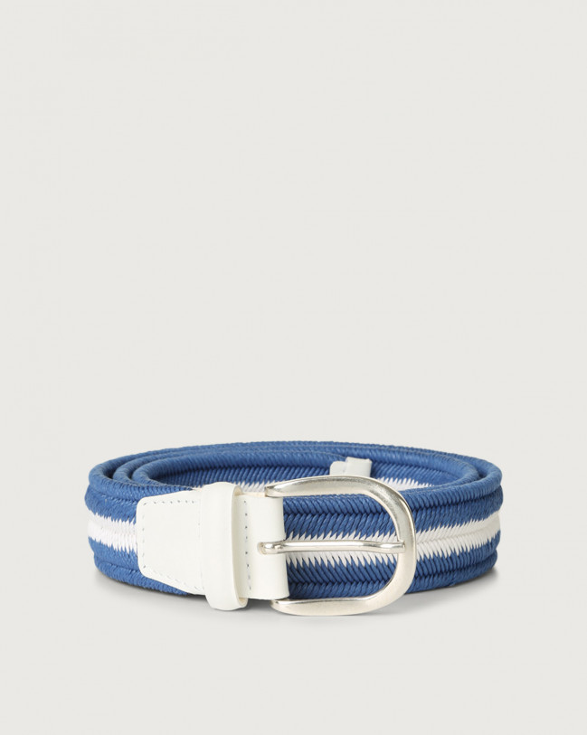 Orciani Elast Duo woven stretch cotton belt Leather & cotton Bluette