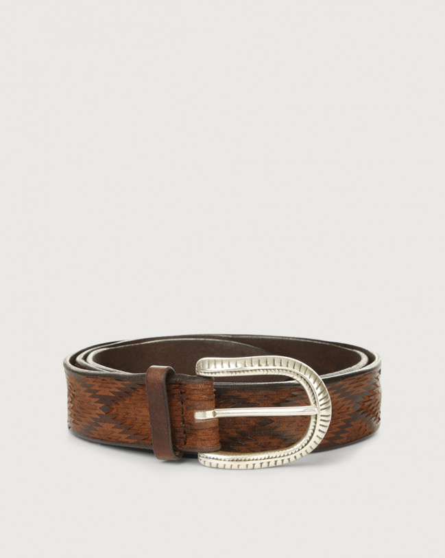 Orciani Wax leather belt Leather Chocolate