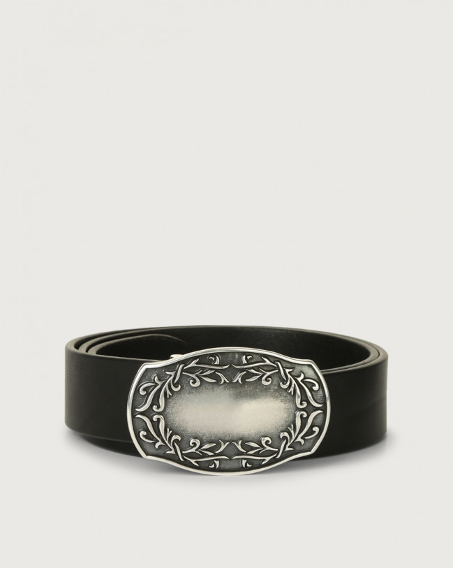 Orciani Bull western buckle leather belt Leather Black