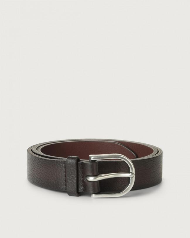 Orciani Micron Deep leather belt Leather Chocolate