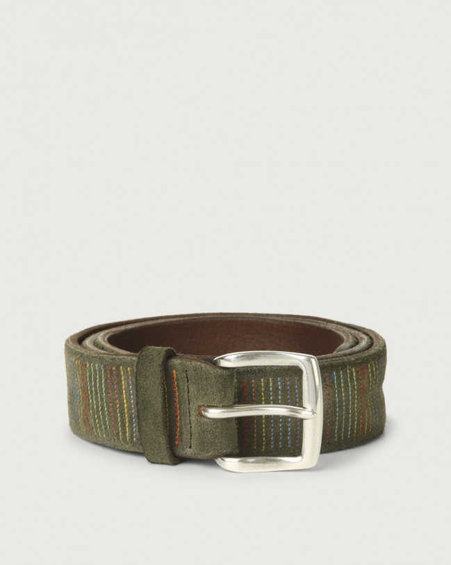 Orciani Cloudy Stripe suede leather belt Suede Olive green